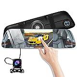 Auto Kamera Rückspiegel 5,5〃Streaming Dashcam Touchscreen IPS 1080p Dashcam Unterstützt GPS Modul (extra) mit Nachsicht(Starlight),720p Rückfahrkamera,170°Weitwinkel Vorne und 120°Hinten AZDOME PG01