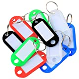 TRIXES Key Tags - Colour Coded - Plastic Key Tags - with Paper Label Inserts - Split Rings - By