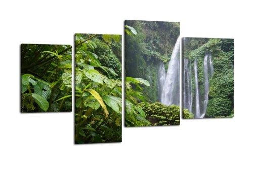 Leinwandbild Dschungel Wasserfall LW115 Wandbild, Bild auf Leinwand, 4 Teile, 180x115cm, Kunstdruck Canvas, XXL Bilder, Keilrahmenbild, fertig aufgespannt, Bild, Holzrahmen, Natur, Urwald, Wasserfall