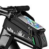 ROCKBROS Fahrrad Rahmentaschen Fahrrad Handytasche Wasserdicht Farhrradlenkertasche Oberrohrtasche Handytasche Geeignet für Smartphones Fahrrad Rahmentasche mit von 6 Zoll