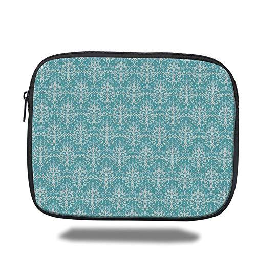 Royal Blue Swirl (Tablet Bag for Ipad air 2/3/4/mini 9.7 inch,Light Blue,Antique Damask Swirls Royal Victorian Renaissance Art Pattern Classy Curvy,Light Blue White)