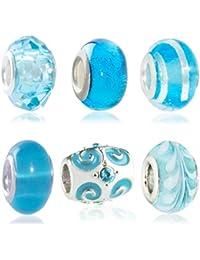 Hidden Gems (M514) Drops Femme, Plaqué Argent à double perles de verre de base Ensemble de 6, Bleu