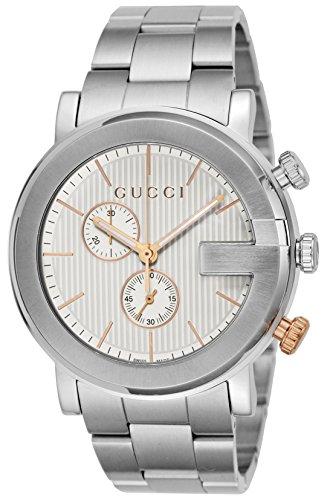 Gucci G Chronograph Silver Dial Mens Watch YA101360