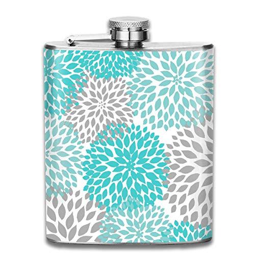 flasks Navy Blue White Blossom Stainless Steel 7 Oz Hip Flask Blossom Navy
