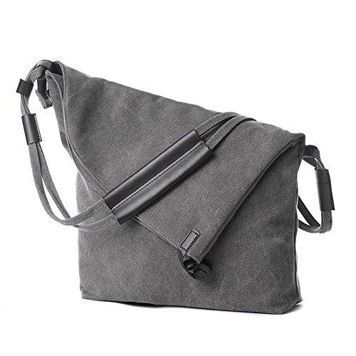 Damen Leinwand Umhängetasche Schultertasche Messenger Bag Grau