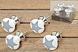 Furniture Knob Set of 4 Porcelain STARS grey by Unbekannt