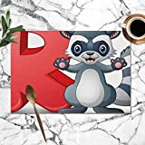 best gift Letter R Raccoon Cartoon Alphabet Animals Wildlife ABC Education Washable Placemats for Dining Table Double Fabric Printing Polyester Place Mats for Kitchen Table Set of 6 Table Mat 12'x18'