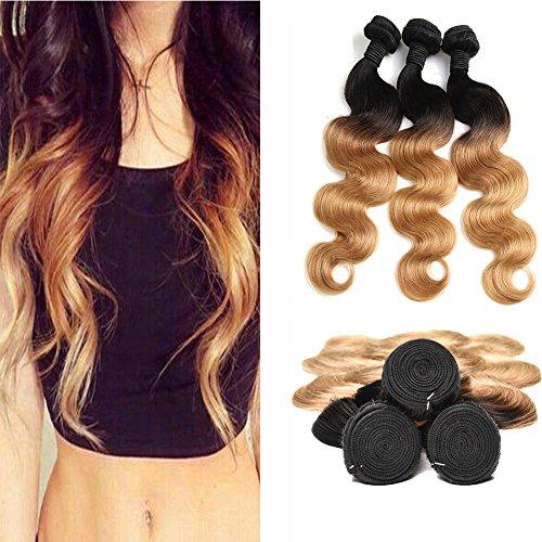 Brasilianische Haare Extensions Human Hair Body Wave 3 Bundles Ombre Honey Blonde Golden 1b 27 Color Haare Extensions Natural Echte (20 22 24 Inches) -