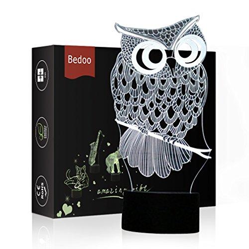 (HeXie LED Nacht Lichter 3D Illusion Nachttisch Lampe 7 Farben ändern Schlafen Beleuchtung mit Smart Touch Button Nette Geschenk Warming präsentieren kreative Dekoration ideale Kunst Handwerk (Eule))