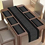 GLEAM® Dining Table Mats 6 Piece with 1 Runner Machine Washable (Black & White)