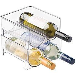 mDesign range-bouteilles (lot de 2) - casier à bouteilles empilable en plastique pour bouteilles de vin ou autres boissons - étagère à vin moderne pour 4 bouteilles - transparent