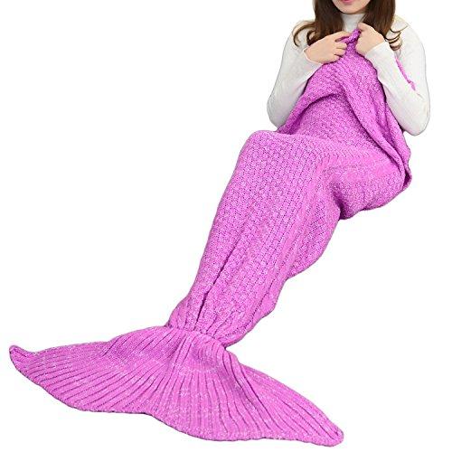 Icegrey Meerjungfrau Decke Handgemachte TV-Decke Weiche Meerjungfrau Decke Mit Flosse Für Erwachsene & Jugendliche Violett 140x70cm