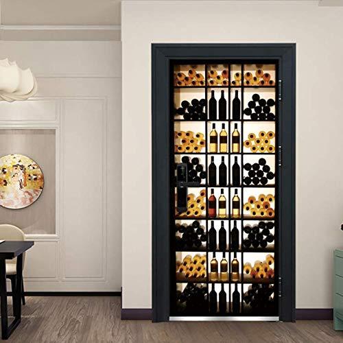 Kreative 3D Retro Weinkühler Tür Aufkleber Für Schlafzimmer Wohnzimmer Tür Renovierung Wandbilder Wasserdicht Dekoration 77 * 200cm