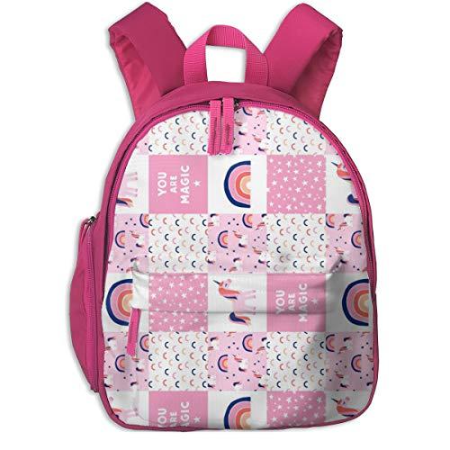 Zaino per bambini 2 anni,Patchwork unicorno - rosa e blu (90) _4862 - littlearrowdesign, per scuole per bambini panno Oxford (rosa)