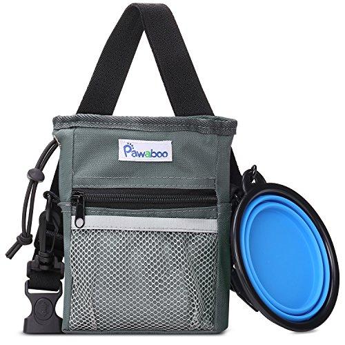 Pawaboo bolsa de entrenamiento para perros & Bol plegable de silicona para alimentos y agua, con correa ajustable, un manos-libre almacenamiento para las sompresas y los juguetes, perfecto para mascotas cachorro de entrenamiento de viajar al perrito caminando, gris