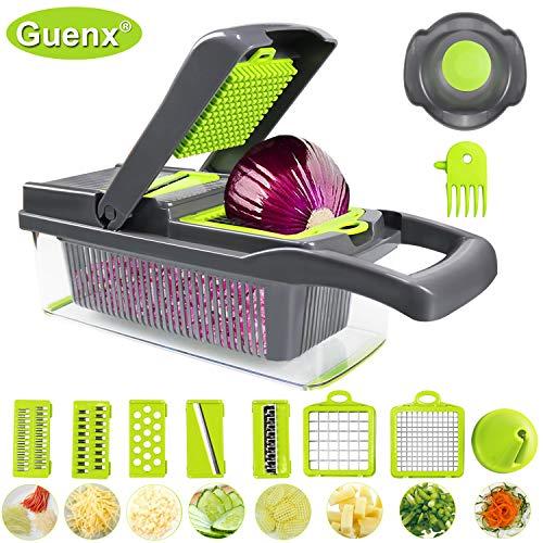 Guenx®Gemüsehobel, 10 in 1 Gemüseschneider | Zwiebelschneider | Schneiden/Würfeln/Hobeln/Stifteln/Schälen/Aufbewahren | Mandoline | Obstschneider | Zerkleinerer | 2019 NEU