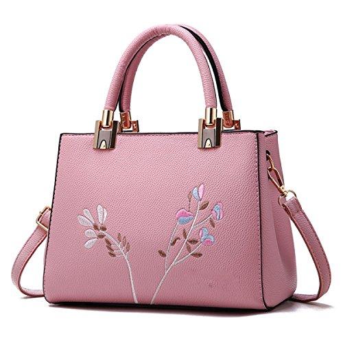 Handtaschen Mit Stickerei EaseGave Exquisite Blume Vegan Leder Schultertaschen Für Frauen Handtasche Pink