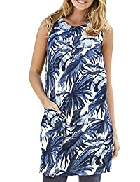 TopsandDresses Ladies Blue Stretchy Cotton Sleeveless Long Tunic Top or Dress With Pockets In UK Sizes 8-38 EU 34-64