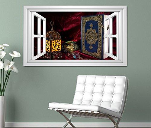3D Wandtattoo Fenster Türkei Koran Buch rot türkisch Islam arabische Schrift weiß Wand Aufkleber Wanddurchbruch sticker selbstklebend Wandbild Wandsticker Wohnzimmer 11O2781, Wandbild Größe F:ca. 97cmx57cm