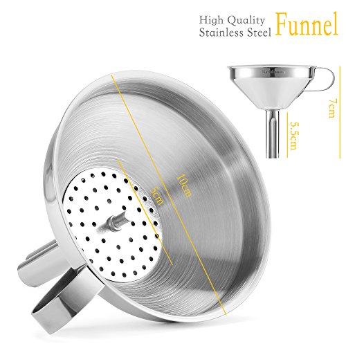 Keidason Edelstahl Küche Trichter mit Abnehmbarer Filter für den Transport von Flüssigkeiten & Fluid - 2
