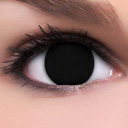 PHANTASY Eyes® Schwarze Farbige Kontaktlinsen, Ohne Stärke (BLIND BLACK) Cosplay perfekt zum Halloween und Karneval, Jahres Linsen, 1 Paar crazy fun Contact linsen + Kontaktlinsenbelälter!