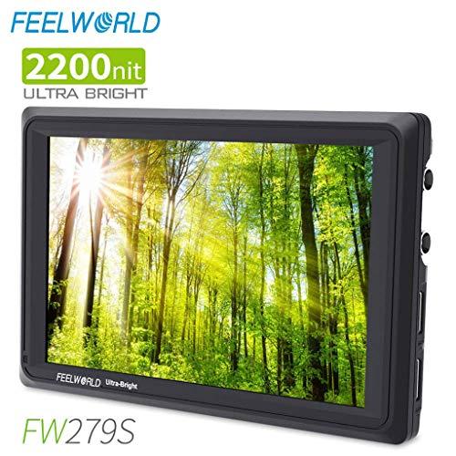 Sixcup® FW279S 7 Zoll Ultra Bright 2200nit DSLR Kamera Feldmonitor Tageslicht einsehbar Hohe Helligkeit Full HD 1920x1200 3G SDI 4K HDMI Input Output (Black) -