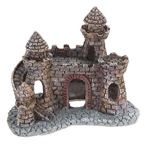 Global Brands Online Yani Aquarium Dekoration Wizard's Castle Fisch Tank Shelter Haus Hand bemalt Realistische Burg (Dekorationen Aquarium Burg)