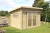 Gartenhaus G10 - 28 mm Blockbohlenhaus, Grundfläche: 7,20 m², Pultdach