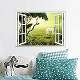 qweasdzx Stickers muraux Faux fenêtre Vert Herbe Cheval Blanc décoration Stickers 70 cm * 54 cm