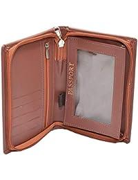 d9113d5b366 NISUN Leather Travel Passport Holder Case Wallet Cover Zipper Closure Brown