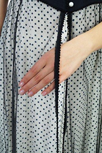 Phagun Femmes Ethnique Motif Top Coton Polka Dot Designer Anarkali Kurti Dress Noir et gris