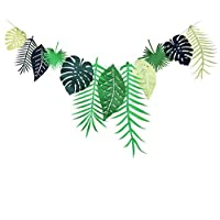 Tropical Leaf Banner Garland Luau Party Bunting Flag Festival Party Decoration Birthday Party Decor