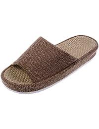 Bronze Times (TM) Zapatillas de Casa de Lino Algodón Antideslizantes Tatami Verano Premium