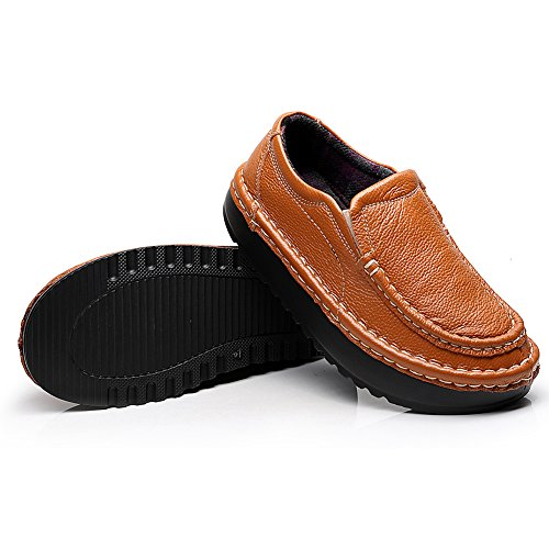 Shenn Donna Piattaforma Scivolare Su Comfort Casuale Pelle Sneaker Scarpe 2601 Abbronzarsi