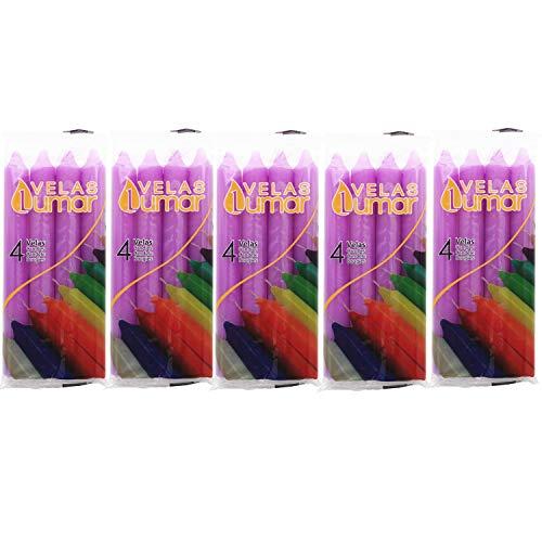 Vela de Mesa Multiples Colores 17,5 cm (Lila, 20 Velas)