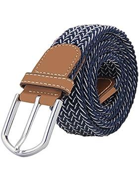 JTDEAL Cinturon elastico hombre, Cinturon Trenzado, Unisex Hombres Mujeres Casual Tejido, Hebilla Metal y Caja...
