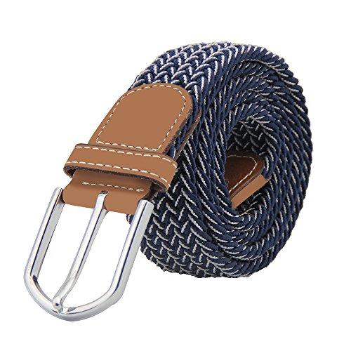 JTDEAL Cinturon elastico hombre, Cinturon Trenzado, Unisex Hombres Mujeres Casual Tejido, Hebilla Metal y Caja De Regalo Negra Elegante Como Regalo, Uso Diario Etc - Azul y Blanco
