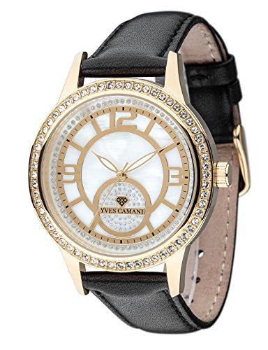 Yves Camani Ruan elegante mujer reloj con caja de acero inoxidable y correa de piel auténtica de calidad. con polvo de piedras verziertes Esfera nácar. Bisel cubierto con 60Swarovski.