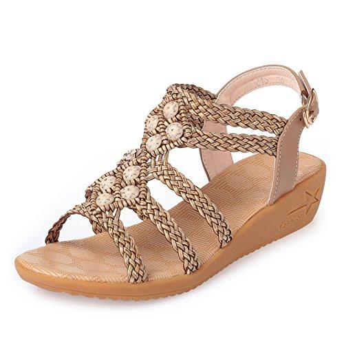 Flachen Sandalen Frauen Sommer Böhmen Roman Schuhe Casual Rutschfeste Pisten Große Größe Schuhe Für Die Reise,Brown-EU:39/UK:6.5