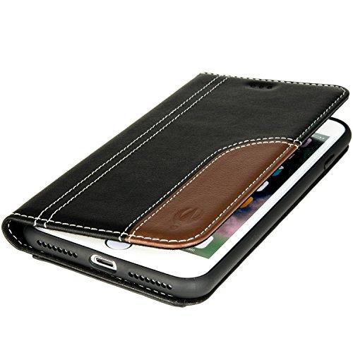 iPhone 8 Hülle | iPhone 7 Hülle Tasche Echt Leder von DECARRO Slim Design Schutzhülle Ledertasche Lederhülle Wallet Case mit Kartenfächer Handy Tasche Hülle Cover Etui Flip (Tasche Magnete)