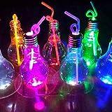 Wasserflasche Birnen Lampe, klare Kunststoff Glühbirne geformte Getränk Saft Flaschen Party Gefälligkeiten (Stroh nicht im Lieferumfang enthalten)