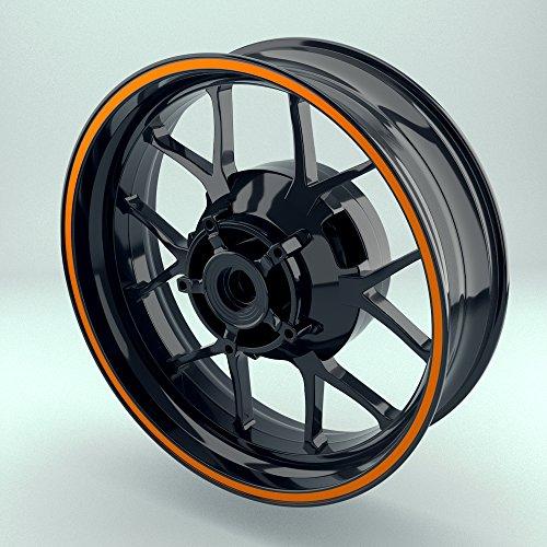 OneWheel Felgenrandaufkleber Motorrad & Auto Komplett-Set (15-19 Zoll) - 10 Felgenstreifen 8mm breit verschiedene Farben (Orange - matt) (Reifen 18 10 8)