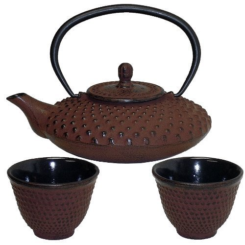 Brick Red Hobnail Japanese Tetsubin & Cups Cast Iron by BigKitchen Tetsubin-cup