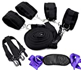 Hisionlee Bondage Sex Set mit Handschellen und Fuß-Manschetten und Augenklappe für Sex-Spiele (Schwarz)