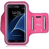 MoKo Armband Brassard de Sport pour Huawei P9 / P8 / P8 Lite / Samsung Galaxy S7 Edge - Slot Porte-clés, Anti-sueur, Connecté parfaitement avec l'écouteur, MAGENTA (Compatible avec 5.5 Pouces)
