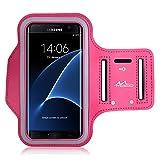 MoKo Huawei P9 / P8 / P8 Lite Armband - Sweatproof Joggen Laufen Sport Armband Handy Hülle Schutzhülle Tasche Case + Schlüsselhalter Kopfhörer Anschluss für Smartphone bis zu 6 Zoll, Magenta