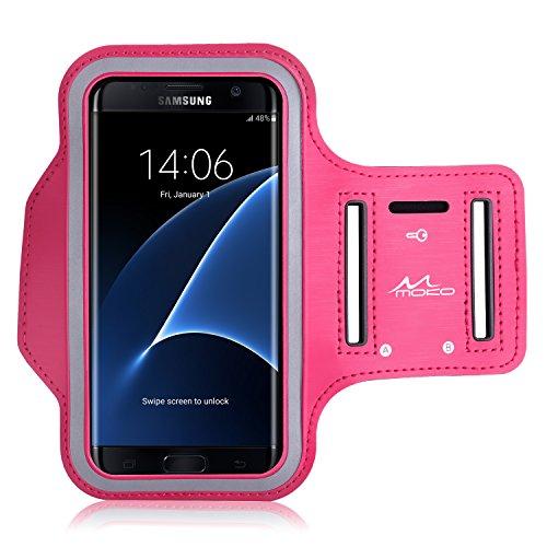 MoKo Armband für Huawei P9 / P8 / P8 - Sweatproof Joggen Laufen Sport Armband Handy Hülle Schutzhülle Tasche Case + Schlüsselhalter Kopfhörer Anschluss für Smartphone bis zu 6 Zoll, Magenta (Wasserdichte Samsung Galaxy S4 Fall)