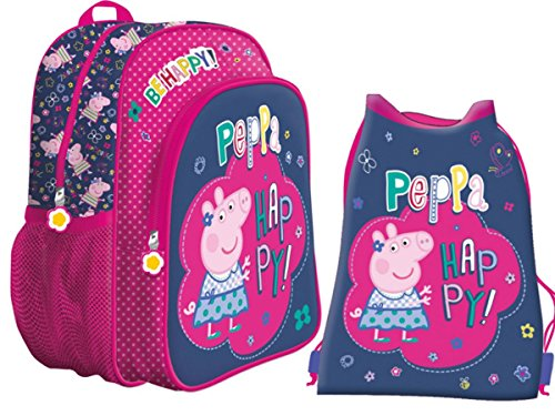 Peppa BE HAPPY! Kinderrucksack Vorschulranzen Rucksack mit Schuhbeutel Turnbeutel, 2teilig. (Peppa Pig-schule-tasche)
