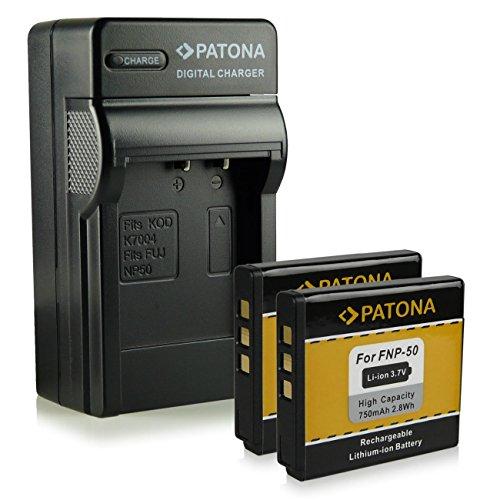 Bundle - 4in1 Caricabatteria + 2x Batteria Fuji NP-50 | Kodak Klic-7004 | Pentax D-Li68 / D-Li122 per Fujifilm FinePix F70EXR / F80EXR / F200EXR / F300EXR / F500EXR / F550EXR / F600EXR e più... - Kodak EasyShare M1033 / M1093 / V1073 / V1233 / V1253 / V1273 - Pentax Q / Q10 | Pentax Optio A40 / S10 / VS20