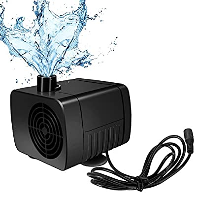 SunTop Mini DC12V 5W Pompe Submersible,Pompe Aquarium Brushless Pompe à Huile de l'eau Submersible Ultra-Silencieux 500 L/H Ascenseur 1.5M